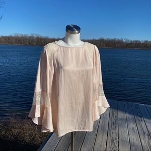 Chico's black Label light pink bell sleeve blouse